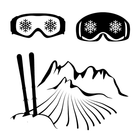 glasses icon: Set of skiing glasses and ski in the Schneewehe Illustration