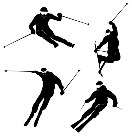 alps: Four silhouettes of skiing persons Illustration