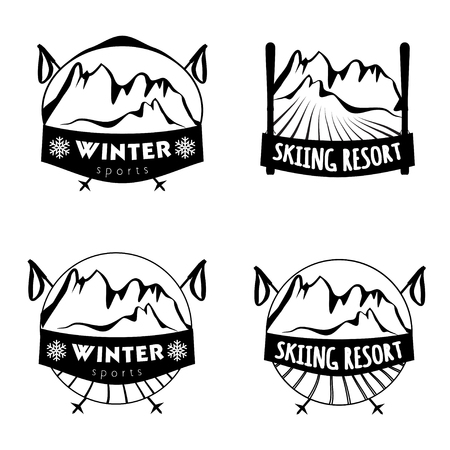 alps: Set of winter sports logos with skiing equipment