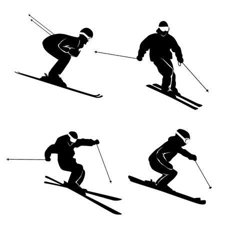 Four silhouettes of skiing persons Vectores