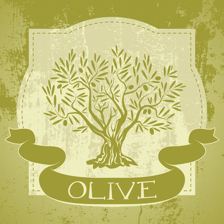 black branch: Grunge vintagee label with olive tree and ribbon