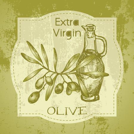 grunge bottle: Grunge vintage label with olive branch and oil bottle