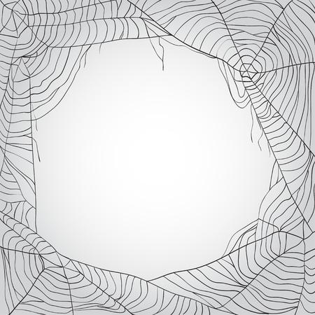 コピー スペースを持つクモの web の背景をグレーします。