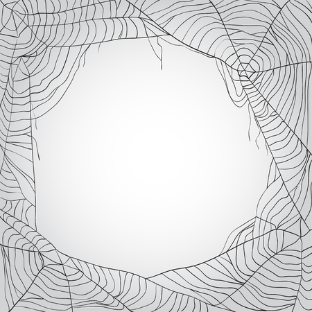 Grey spider's web background with copy space Stock Illustratie