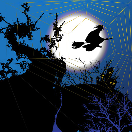 spider's web: Night halloween background with witch and spiders web