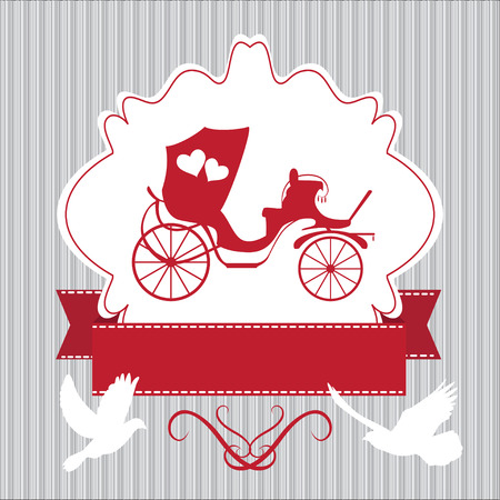 brougham: Vintage wedding frame withcoach and pegions Illustration