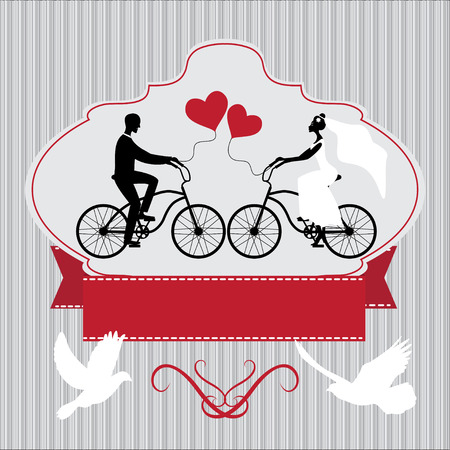 Vintage wedding frame with bicycle and pegions Vectores