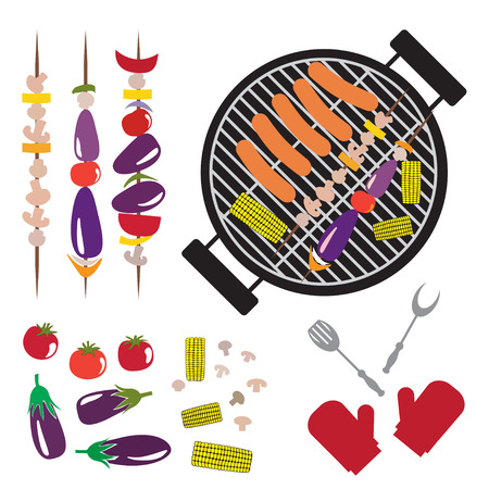grilled vegetables: Set of grilled vegetables, mushrooms, sausage and Grill Illustration