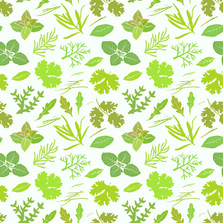 Seamless pattern with different green spices Vectores