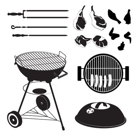 grill meat: Set of grill with pieces of different meat Illustration