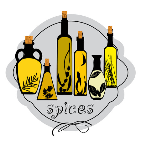 chive: Set of different jars with spicy oils