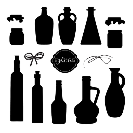decorative urn: Set of different jar silhouettes for spicy oil with ribbons