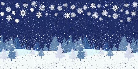 horizontal: Seamless horizontal night winter pattern
