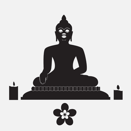 zenlike: Black silhouette of Buddha with candle and flower Illustration