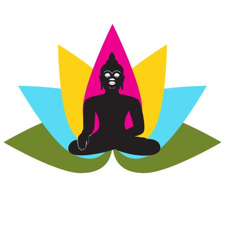 buddha lotus: Black silhouette of Buddha with lotus Illustration