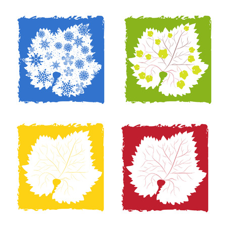 and four of the year: Symbols of four year seasons Illustration