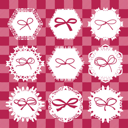 napkins: Different napkins with decorative ribbons