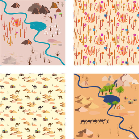 camels: Set seamless desert pattern with river, palms rocks and camels Illustration