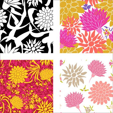 flowers on white: Set of colorful patterns with different flowers Illustration
