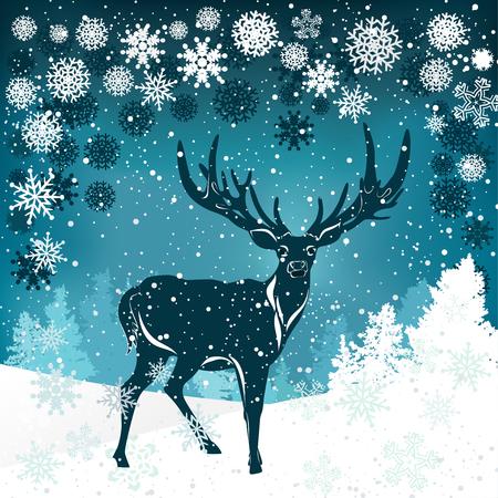 antler: Silhouette of deer with big antler on winter background