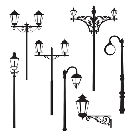 lighting column: Set of classic road lantern silhouettes