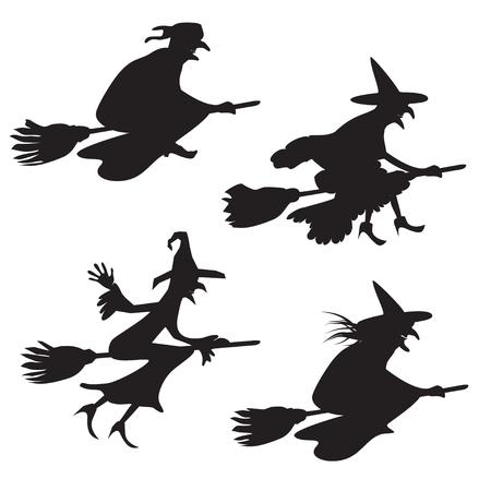 brujas caricatura: Conjunto de cuatro siluetas de las brujas que vuelan
