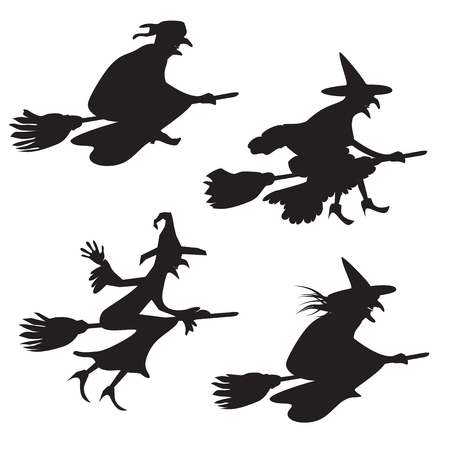 witch on broom: Set of four silhouettes of flying witches Illustration