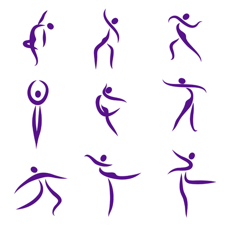 performing: Dancing abstract people, symbols - Illustration