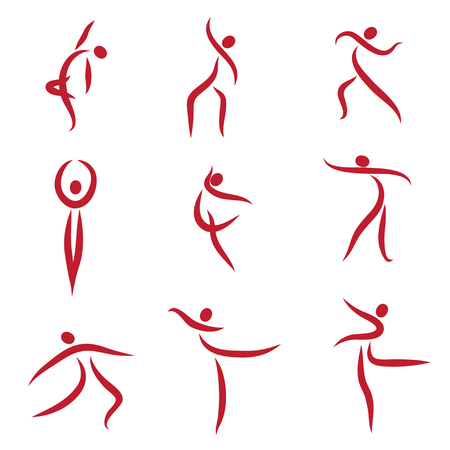 leaping: Dancing abstract people, symbols - Illustration