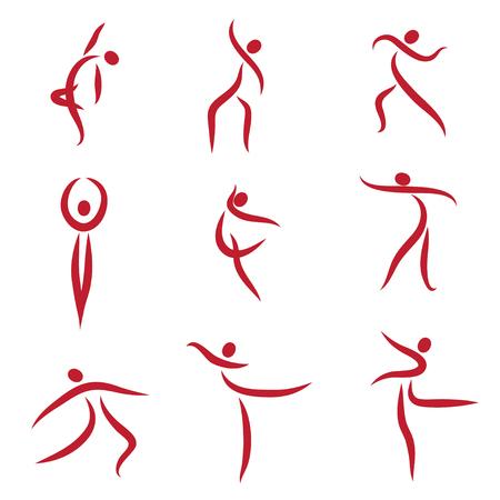 Dancing abstract people, symbols - Illustration