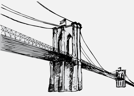 Hand getrokken Brooklyn Bridge - vector Stock Illustratie
