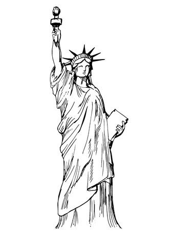 liberty statue: Hand drawn Liberty statue - vector Illustration