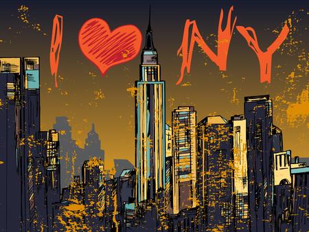 part of me: Nueva York parte de la ciudad paisaje urbano noche dibujado
