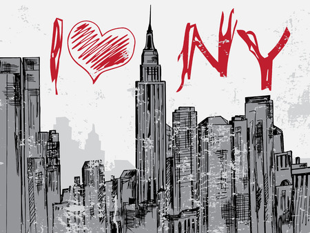 brooklyn bridge: New York city hand drawn cityscape