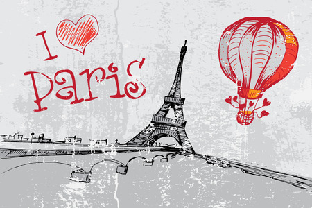 Paris grunge background with Eiffel tower Illustration