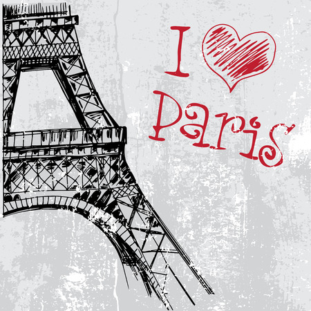 intricacy: Paris grunge background with Eiffel tower Illustration