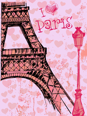 Paris grunge background with Eiffel tower 向量圖像