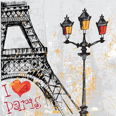 París fondo del grunge con la torre Eiffel