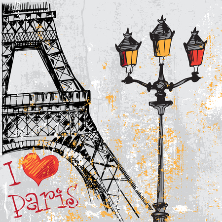 french culture: Paris grunge background with Eiffel tower Illustration