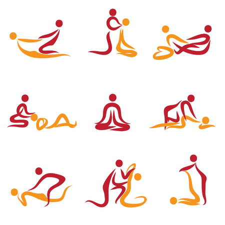 massage symbol: Set of peoples doing massage