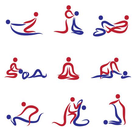 Ensemble de peuples qui font le massage Banque d'images - 48275825