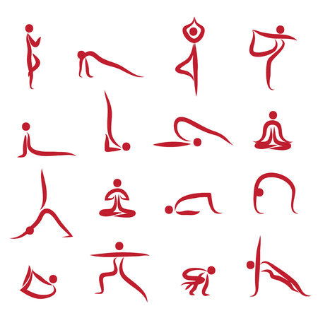 asanas: Yoga Silhouettes Asanas pack Vector