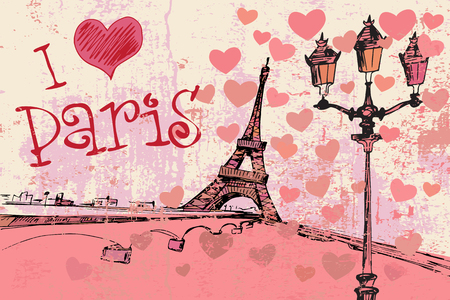 i love paris: Paris grunge background with Eiffel tower Illustration