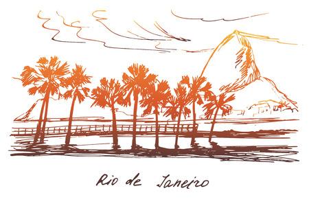 coast: Hand drawn Rio de Janeiro coast