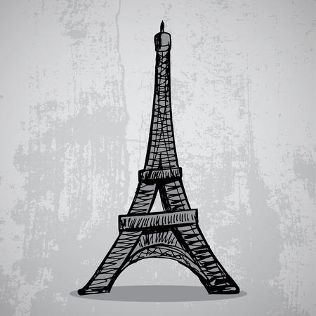 illustrate i: Paris grunge background with Eiffel tower Illustration