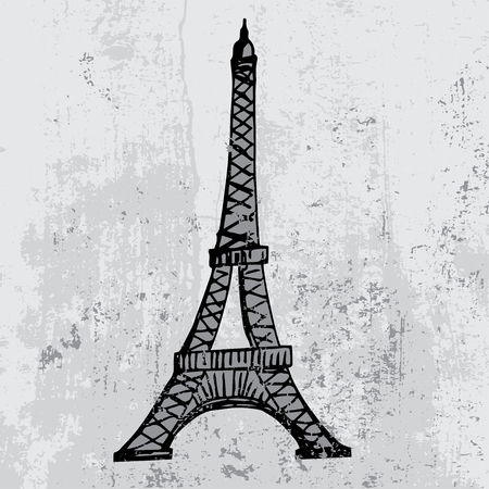 Eiffel Tower: Paris grunge background with Eiffel tower Illustration