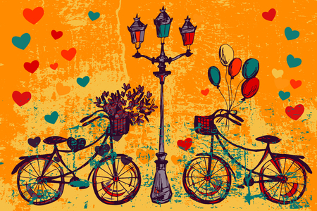 pencil cartoon: Romantic card with bike, flowers and lamp