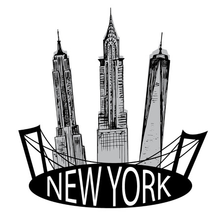 chrysler building: Hand drawn New York famous buildings