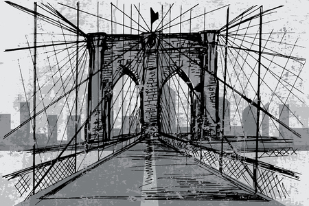 Hand drawn Brooklyn Bridge - vector