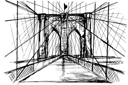brooklyn: Hand drawn Brooklyn Bridge - vector